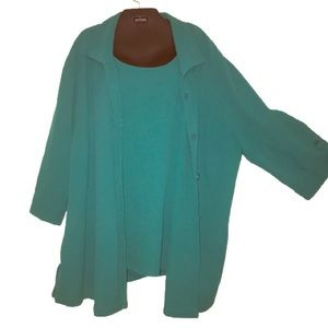 Textured Button Blouse W/Mock Shell Size 3X 26/28W